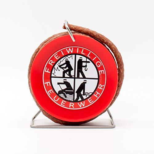 WURSTBARON® - Salami auf Feuerwehr-Trommel - Snack Wurst Mini-Kabeltrommel Schlauchtrommel Modell...
