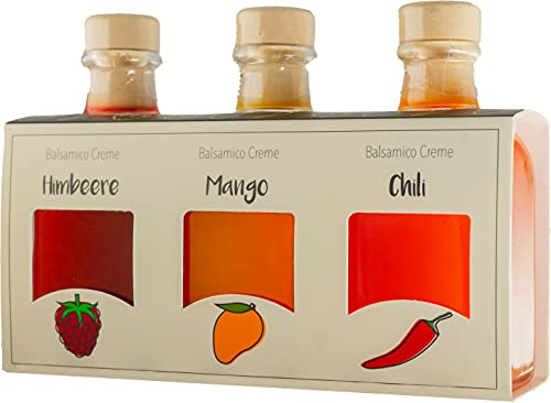 Foodoko Finest - Balsamico Essig Creme Geschenkset mit Himbeer-, Mango- & Chili in 3x100ml...