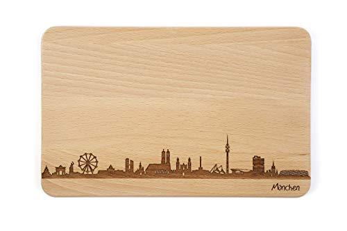 Brotzeitbrett München Skyline | Frühstücksbrettchen aus Buche | Holz Schneidbrett | Geschenk mit...