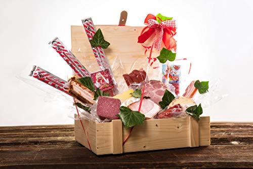 WURSTBARON® Wurst & Käse Geschenk Kiste aus Holz mit Beschlägen, Salami Snacks, Tolle...