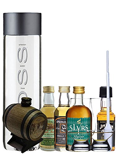Whisky Probierset Old St. Andrews Mini-Fass 5cl, Slyrs Herbs Alpine 5cl, Springbank 10 5cl, The...