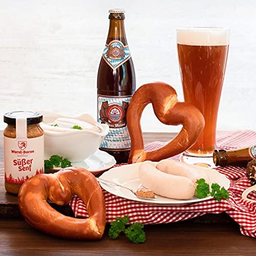WURSTBARON® Weißwurst Premium Paket - Set aus Weißwürsten, Brezeln, Weißbier, süßem Senf -...
