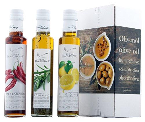 3er Probier-Paket Terre Francescane - Extra Natives Olivenöl Dressing mit Limonen, Rosmarin und...