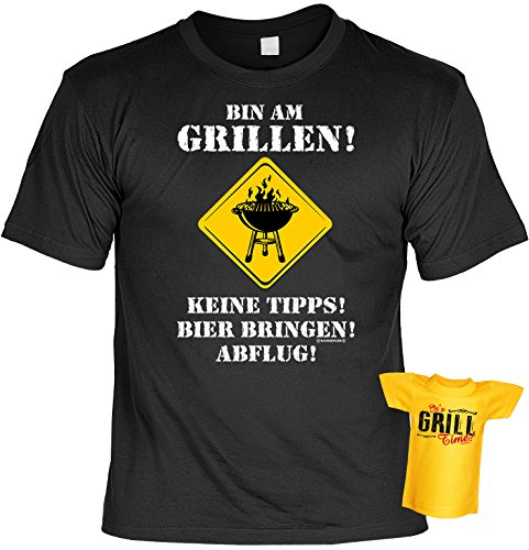 Spaß-Shirt inkl. Mini-Shirt/Geschenk-Set: Bin am Grillen! Keine Tipps! Bier bringen. - Grill-Shirt...