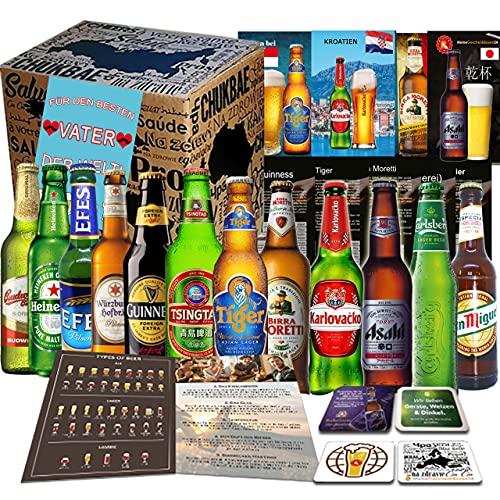 Vatertag Geschenkbox PAPA 12 x Biere der Welt/Geschenk für Vater, Mann, Männer, Papi...