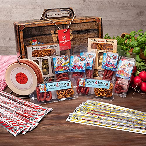 WURSTBARON® - Wurst Geschenk Koffer groß - mit 24 besonderen Salami Snacks und einer Wurst...
