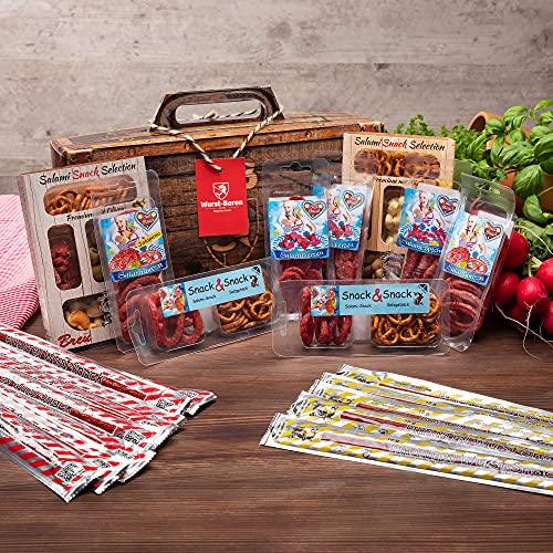 WURSTBARON® - Wurst Geschenk Koffer - mit 24 besondere Salami und Wurst Snacks - Brezen, Herzen,...